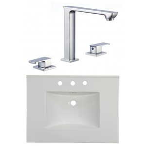 American Imaginations Flair 30.75 x 22.25-in White Ceramic Widespread Vanity Top Set Chrome Bathroom Faucet