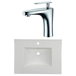 American Imaginations Flair 30.75 x 22.25-in White Ceramic Single Hole Vanity Top Set Chrome Bathroom Faucet