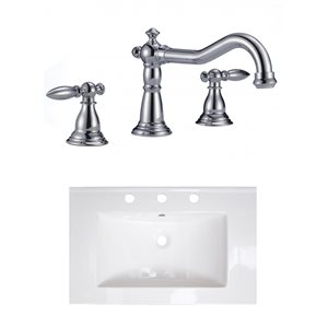 American Imaginations 24-in x 18-in White Ceramic Single Sink Chrome Faucet