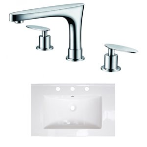 American Imaginations 24-in x 18-in White Ceramic Single Sink Brushed Nickel Faucet