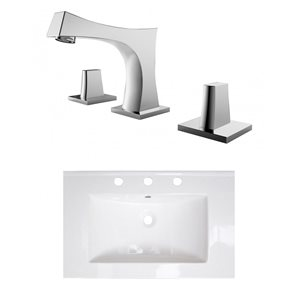 American Imaginations 24-in x 18-in Widespread  White Ceramic Single Sink Brushed Nickel Faucet
