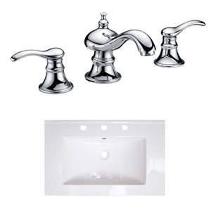 American Imaginations 24-in x 18-in Widespread  White Ceramic Single Sink Chrome Faucet