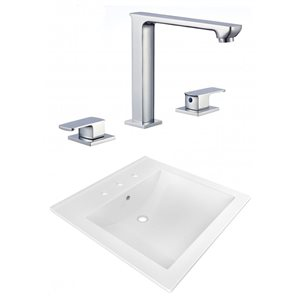 American Imaginations 21.5 x 18.5-in White Ceramic Widespread Vanity Top Set Chrome Bathroom Faucet