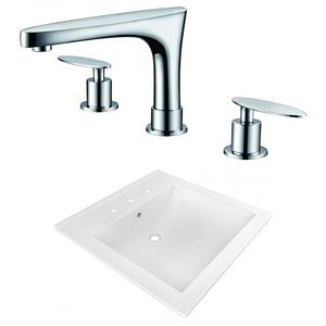 American Imaginations 21.5 x 18.5-in White Ceramic Widespread Vanity Top Set Chrome Bathroom Faucet