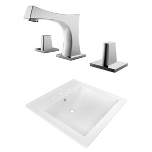 American Imaginations 21.5 x 18.5-in White Ceramic Widespread Vanity Top Set Chrome Bathroom Faucet Overflow Cap