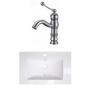 American Imaginations 24-in x 18-in White Ceramic Single Sink Chrome Bathroom Faucet
