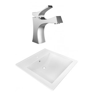 American Imaginations 21.5-in x 18.5-in White Ceramic Vanity Top Set Single Hole Chrome Bathroom Faucet