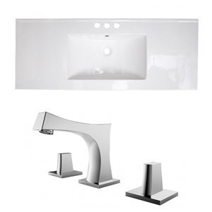 American Imaginations Flair 48.75-in x 22-in White Ceramic Vanity Top Set Widespread Chrome Bathroom Faucet