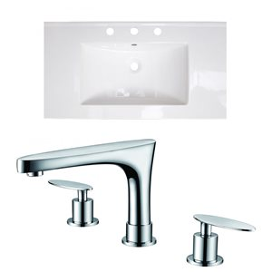 American Imaginations Flair 36.75 x 22.5-in White Ceramic Widespread Vanity Top Set Chrome Bathroom Faucet