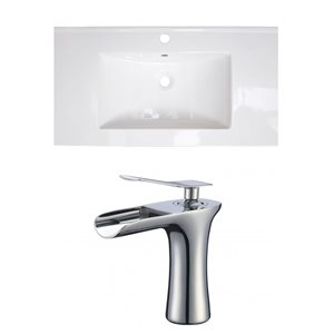 American Imaginations Flair 36.75-in x 22.5-in White Singlehole Ceramic Top Set With Chrome Faucet