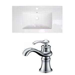 American Imaginations Flair 36.75 x 22.25-in White Ceramic Single Hole Vanity Top Set Chrome Bathroom Faucet