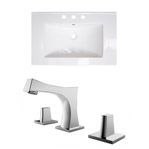 American Imaginations Flair 25 x 22-in White Ceramic Widespread Vanity Top Set Chrome Bathroom Faucet