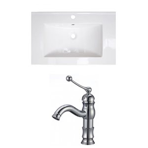 American Imaginations Flair 25 x 22-in White Ceramic Single Hole Vanity Top Set Chrome Bathroom Faucet