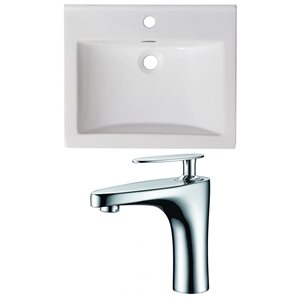 American Imaginations Omni 21-in x 18.5-in Single Hole White Ceramic Top Set With Faucet