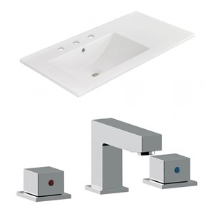 American Imaginations Xena 59-in x 18-in White Ceramic Top Set With Brushed Nickel Drain and Overflow Caps
