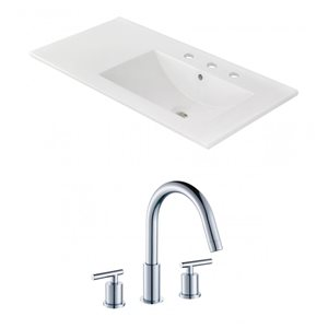 American Imaginations Xena 59-in x 18-in White Ceramic Single Hole Vanity Top Set with Chrome Overflow Caps