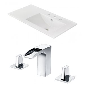 American Imaginations Xena 59-in x 18-in White Ceramic Single Hole Vanity Top Set with Gold Overflow Caps