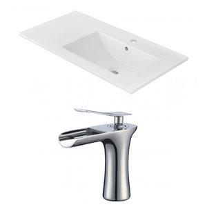 American Imaginations 35.5-in x 18.25-in White Ceramic Vanity Top Set Single Hole Chrome Bathroom Faucet