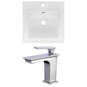 American Imaginations 16.5 x 16.5-in White Ceramic Single Hole Vanity Top Set Chrome Bathroon Faucet