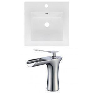 American Imaginations 16.5 x 16.5-in White Ceramic Single Hole Vanity Top Set Chrome Bathroom Faucet