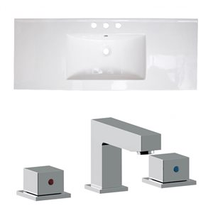 American Imaginations 39.75 x 18.25-in White Ceramic Widespread Vanity Top Set Chrome Bathroom Faucet