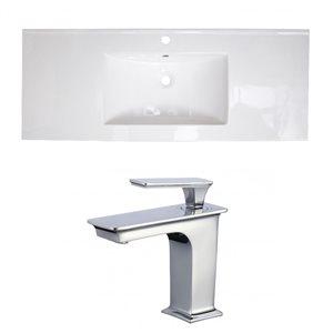 American Imaginations 39.75 x 18.25-in White Ceramic Single Hole Vanity Top Set Chrome Bathroom Faucet