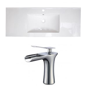 American Imaginations 39.75 x 18.25-in White Ceramic Single Hole Vanity Top Set Chrome Bathroom Faucet
