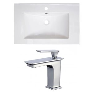 American Imaginations Vee 30-in x 18.5-in White Singlehole Ceramic Top Set With Chrome Faucet