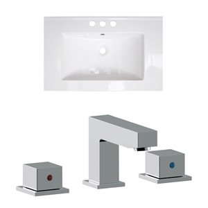 American Imaginations Vee 21-in x 18.5-in White Widespread Ceramic Top Set With Chrome Faucet