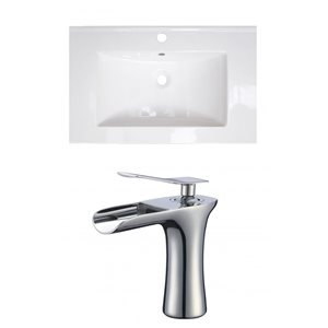 American Imaginations Vee 21-in x 18.5-in White Singlehole Ceramic Top Set With Chrome Faucet