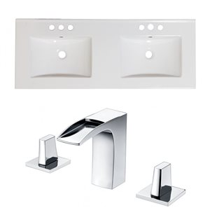 American Imaginations Xena 59-in x 18-in White Ceramic Widespread Vanity Top Set with Chrome Faucets
