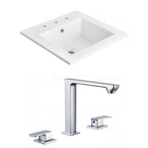 American Imaginations 21-in x 18-in Widespread White Ceramic Vanity Top Set With Chrome Faucet