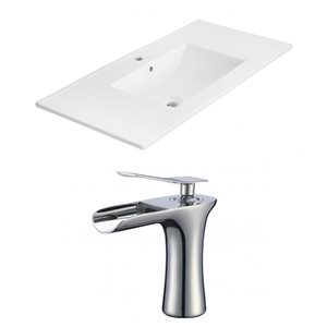American Imaginations Xena 35 x 18.25-in White Ceramic Single Hole Vanity Top Set Chrome Bathroom Faucet