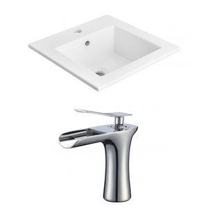 American Imaginations 21-in x 18-in White Ceramic Vanity Top Set With Chrome Faucet