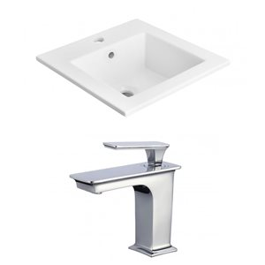 American Imaginations 21-in x 18-in Single Hole White Ceramic Vanity Top Set With Chrome Faucet