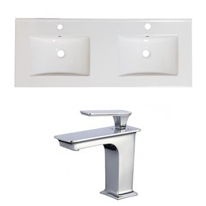 American Imaginations Xena Single Hole 48- in x 18.25- in White Ceramic Top Set With Faucets