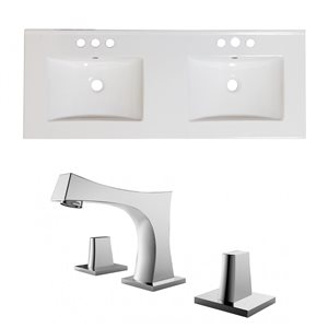 American Imaginations Xena 48-in x 18.25-in White Ceramic Widespread Vanity Top Set with Chrome Faucets