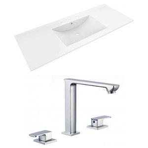 American Imaginations 48 x 18.5-in White Ceramic Alum Widespread Vanity Top Set Chrome Bathroom Faucet