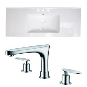 American Imaginations Roxy Widespread 48- in x 18.5- in White Ceramic Top Set With Faucet