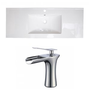 American Imaginations Roxy 48 x 18.5-in White Ceramic Single Hole Vanity Top Set Chrome Bathroom Faucet