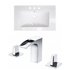 American Imaginations Roxy 32 x 18.25-in White Ceramic Widespread Vanity Top Set Chrome Bathroom Faucet