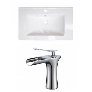 American Imaginations Roxy 32 x 18.25-in White Ceramic Single Hole Vanity Top Set Chrome Bathroom Faucet