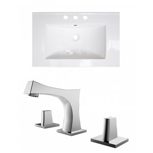 American Imaginations Roxy 24.25-in x 18.25-in White Ceramic Top Set with Chrome Faucet