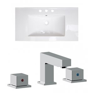 American Imaginations Flair 32-in x 18.25-in White Widespread Ceramic Top Set With Chrome Faucet