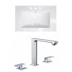 American Imaginations Flair 23.75-in x 18.25-in White Ceramic Vanity Top Set Widespread Chrome Bathroom Faucet