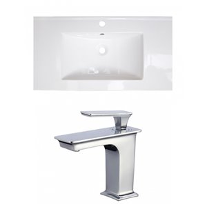 American Imaginations Flair 32-in x 18.25-in White Singlehole Ceramic Top Set With White Faucet