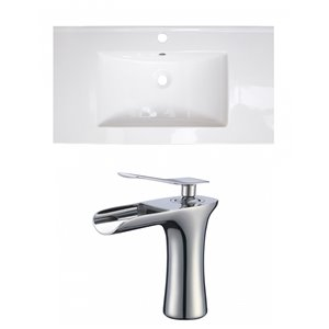 American Imaginations Flair 32-in x 18.25-in White Singlehole Ceramic Top Set With Chrome Faucet