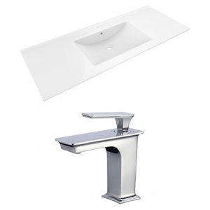American Imaginations 48 x 18.5-in White Ceramic Alum Single Hole Vanity Top Set Chrome Bathroom Faucet