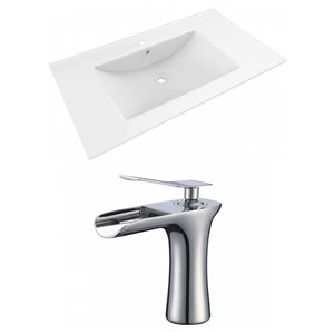 American Imaginations Drake 35.5 x 19.75-in White Ceramic Vanity Top Set with Chrome Faucet Single Hole