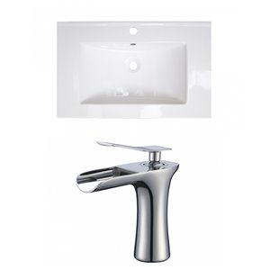 American Imaginations Flair 23.75-in x 18.25-in White Ceramic Vanity Top Set Single Hole Chrome Bathroom Faucet